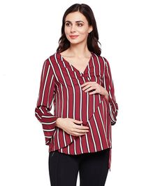 Oxolloxo Striped Full Sleeves Top - Maroon