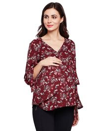 Oxolloxo Floral Printed Three Fourth Sleeves Top - Maroon