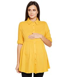 Oxolloxo Solid Full Sleeves Shirt - Yellow