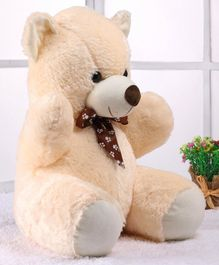 Dimpy Stuff Teddy Bear Plush Toy Cream (Bow Color & Print May Vary) - Height 42 cm