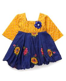 Softouch Full Sleeves Frock Flower Applique - Blue Yellow