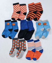 Cute Walk by Babyhug Anti Bacterial Ankle Length Non Terry Socks Pack of 7 - Multicolor