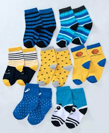 Cute Walk by Babyhug Anti Bacterial Ankle Length Non Terry Socks Pack of 7 - Blue Yellow
