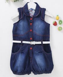 Chicklets Solid Collar Sleeveless Short Jumpsuit With Belt - Dark Blue