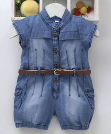 Chicklets Solid Short Sleeves Jumpsuit With Belt - Blue