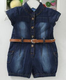 Chicklets Solid Short Sleeves Jumpsuit With Belt - Dark Blue