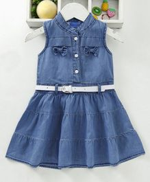 Chicklets Solid Sleeveless Denim Dress With Belt - Blue