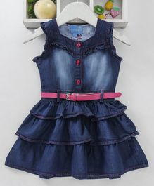 Chicklets Solid Sleeveless Layered Denim Dress With Belt - Dark Blue