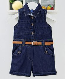Chicklets Sleeveless Front Button Closure Jumpsuit With Belt - Dark Blue