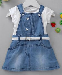 Chicklets Solid Dress With Short Sleeves Tee & Belt - Blue & White