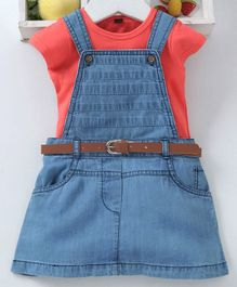Chicklets Solid Short Sleeves Tee With Denim Dress - Peach & Blue