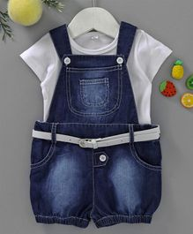 Chicklets Short Sleeves Solid Tee With Dungaree & Belt - White & Blue