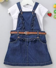 Chicklets Short Sleeves Solid Tee With Dungaree Style Ruffled Dress & Belt - White & Blue