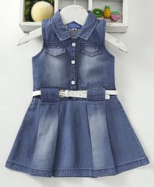 Chicklets Solid Sleeveless Collar Dress With Belt - Blue