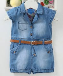 Chicklets Solid Short Sleeves Denim Jumpsuit - Blue