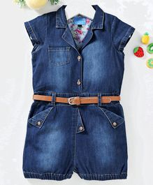 Chicklets Solid Short Sleeves Denim Jumpsuit - Dark Blue