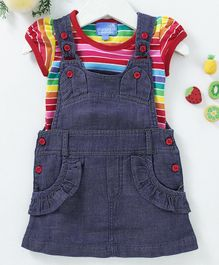 Chicklets Short Sleeves Striped Tee With Pinafore Dress - Blue