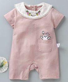 3ecdb82733c Meng Wa Short Sleeves Romper Rabbit Print - Pink