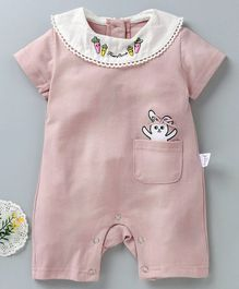 79763fcc4e52 Meng Wa Short Sleeves Romper Rabbit Print - Pink
