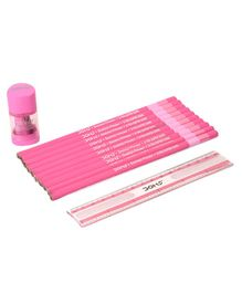 Doms Pencils With Scale & Sharpener Pink - Pack of 12