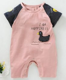 b0190817f527 Meng Wa Striped Half Sleeves Romper Duck Patch - Pink