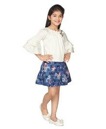 0f45a486d Tiny Baby Flower Embellished Three Fourth Sleeves Top & Flower Printed  Skirt Set - White &