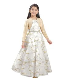 f253ff9a3 Tiny Baby Flower Printed Gown & Full Sleeves Jacket Set - White & Golden