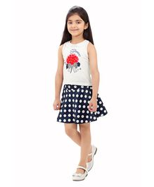 836419ca7 Tiny Baby Flower Print Sleeveless Top & Skirt Set - White & Blue
