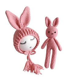 Babymoon Newborn Lovely Knitted Crochet Prop Cap and Toy - Pink