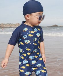 Awabox Half Sleeves Fish Print Swimsuit With Cap - Navy Blue