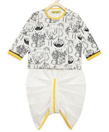 Tiber Taber Full Sleeves Elephant Print Kurta & Solid Dhoti Set - White