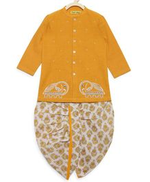 Tiber Taber Full Sleeves Elephant Embroidered Kurta & Dhoti Set - Mustard Yellow