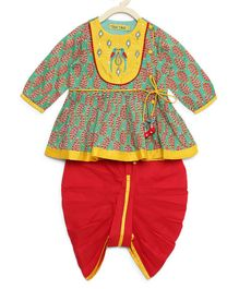 Tiber Taber Parrot Embroidered Full Sleeves Angrakha & Dhoti Set - Green & Red