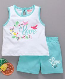 Babyhug Sleeveless Top & Shorts Set Graphic Print - White & Blue