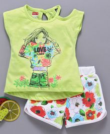 Babyhug Short Sleeves Tee With Shorts Doll & Floral Print - Green