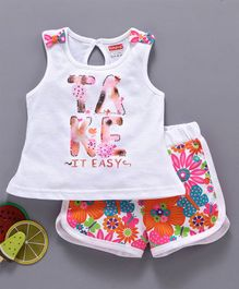 Babyhug Sleeveless Tee With Shorts Text & Floral Print - White