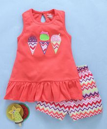 Babyhug Sleeveless Top With Printed Shorts Ice-Cream Patch - Peach