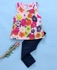 Babyhug Sleeveless Top With Lounge Pant Floral Print - Navy