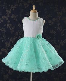 496e9dd6 Babyhug Sleeveless Party Frock Pearl Embellishments & Floral Print - Green