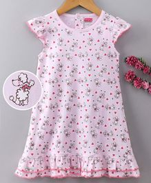 Babyhug Cap Sleeves Cotton Nighty Puppy Print - Pink