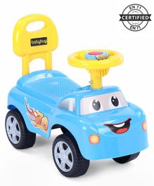 Babyhug Funky Manual Ride On Car With Steering Wheel - Blue