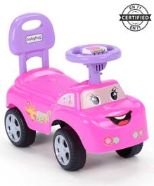 Babyhug Funky Manual Ride On Car With Steering Wheel - Pink