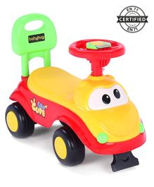 Babyhug Spunk Manual Ride On Car With Steering Wheel - Yellow Red