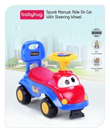 Babyhug Manual Push Ride On With Steering Wheel - Red Blue