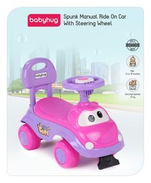 Babyhug Manual Push Ride On With Steering Wheel - Pink Purple