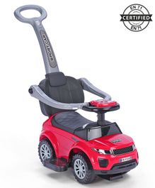 Babyhug Sporty Plus 3 in1 Manual Ride On Car With Parent Push Bar - Red