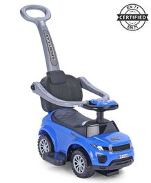 Babyhug Sporty Plus 3 in1 Manual Ride On Car With Parent Push Bar - Blue