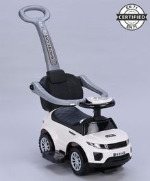 Babyhug Sporty Plus 3 in1 Manual Ride On Car With Parent Push Bar - White