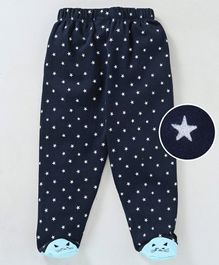 Mom's Love Bootie Leggings Star Print - Navy Blue