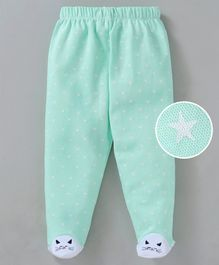Mom's Love Footed Leggings Star Print - Sea Green